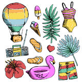 Set of bright Summer doodle sticker, hand draw elements Royalty Free Stock Photo