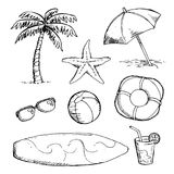 Set of bright Summer doodle sticker, hand draw elements Stock Photos