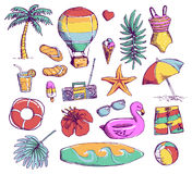 Set of bright Summer doodle sticker, hand draw elements Royalty Free Stock Images