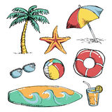 Set of bright Summer doodle sticker, hand draw elements Stock Photography