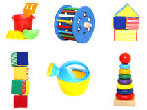 Set of bright toys. Six colorful toys isolated on white Stock Photos