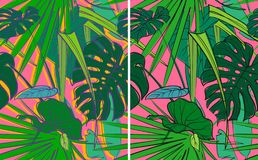 Set of bright tropical textures stock image