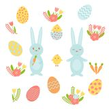 Set of bright vector elements for Easter. Includes colored eggs, chicks, rabbits and flowers for Easter design. royalty free illustration