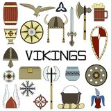 Set of bright vector illustrations for the design of Vikings. Set of bright vector illustrations for the design of Viking`s life Royalty Free Stock Photography