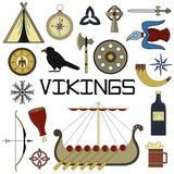 Set of bright vector illustrations for the design of Vikings. Set of bright vector illustrations for the design of Viking`s life Stock Photography