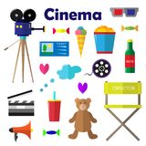 A set of bright vector illustrations for the film industry.  Royalty Free Stock Image
