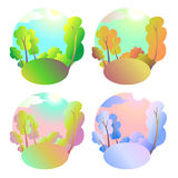 Set of bright vector natural backgrounds. Four seasons in nature - summer, winter, fall, spring. City park or vacation Stock Images