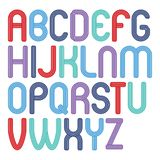 Set of bright vector upper case funky English alphabet letters isolated, for use in logo design for nightclub. Advertising royalty free illustration