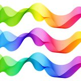 Set of Bright Vibrant Abstract Isolated Wave Lines for White   Stock Photo