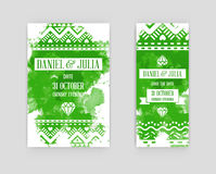 Set of Bright Watercolor Invitations in Vector Stock Images