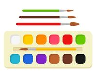 Set of bright watercolor paints in box with paint brushes. Colorful palette. Tools and accessories for designer. Illustrator, artist. Artistic creative works royalty free illustration