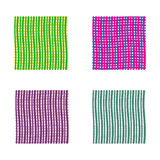 Set of bright wavy backgrounds. Green and violet vector backgrounds with thin lines. Stock Photo