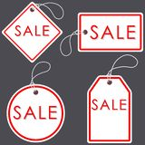 Set of Bright White-Red Sale Banners. Label and Sign. Vector ill. Ustration royalty free illustration