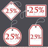 Set of Bright White-Red Sale Banners with Various Percent. Vecto. R Illustration stock illustration