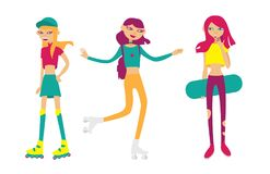 Set with bright young girls skating and rolling. Flat isolated characters in funny style. Sport girls Royalty Free Stock Image