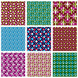 Set of brightl dotted seamless patterns, polka dot tiles Stock Photos