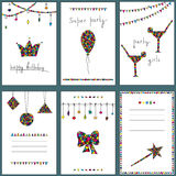 A set of brightly colored cards. Birthday, party Royalty Free Stock Photography