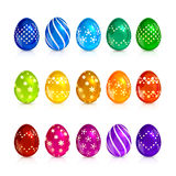 Set of brightly colored Easter eggs. With decorative patterns isolated on white background, illustration royalty free illustration