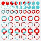Set of brightly colored pie charts Royalty Free Stock Image