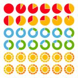 Set of brightly colored pie charts. Royalty Free Stock Photo