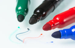 Set of brightly markers. On white background Royalty Free Stock Photography
