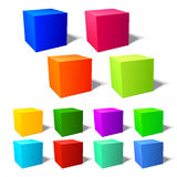 Set of brignt 3d cubes. With harmonic color combinations Vector Illustration