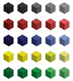 Set of brignt 3d cubes with harmonic color combinations vector illustration