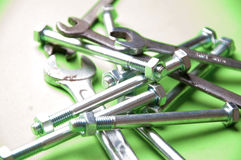 Set of brilliant nut keys on a green background Royalty Free Stock Image