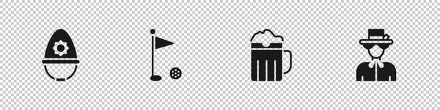 Set British police helmet, Golf flag, Wooden beer mug and Queen Elizabeth icon. Vector