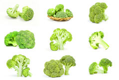 Set of broccoli cabbage isolated on a white background cutout. Collage of fresh head of broccoli Stock Images
