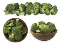 Set of broccoli isolated on a white background. Broccoli at border of image with copy space for text Stock Images