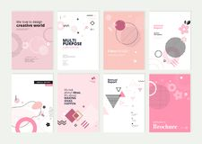 Set of brochure, annual report and cover design templates for beauty royalty free stock photo