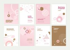 Set of brochure, annual report and cover design templates for beauty royalty free stock image