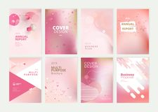 Set of brochure, annual report and cover design templates for beauty royalty free stock photography