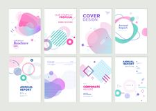Set of brochure, annual report and cover design templates for beauty stock images