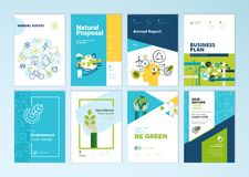 Set of brochure and annual report cover design templates of nature, environment, renewable energy, sustainable development Stock Photography
