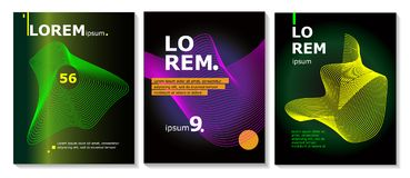 Set of brochure, annual report, flyer design templates with line shapes. Vector illustrations for business presentation vector illustration