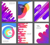 Set of brochure, annual report, flyer design templates in A4 size. Vector illustrations for business presentation Minimal geometric background. Dynamic shapes royalty free illustration