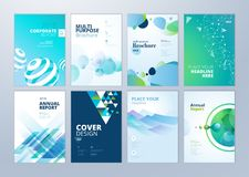 Set of brochure, annual report, flyer design templates in A4 size Stock Photos