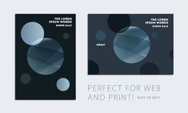 Set of brochure with black abstract design cover, party flyer in A4 with grey smooth round for club, celebration, anniversary. Set of brochure with dark neon stock illustration