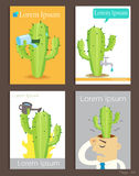 Set of Brochure Design cactus and water Templates Royalty Free Stock Photos