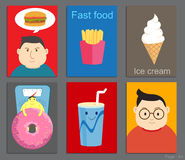 Set of Brochure Design cartoon style in fastfood concept Royalty Free Stock Photo