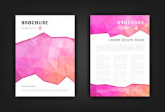 Set of brochure design template with triangular backgrounds. Abstract vector modern brochure design template. Light pink polygonal background royalty free illustration