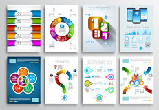Set of Brochure Designs, Infographic Backgrounds Stock Photo