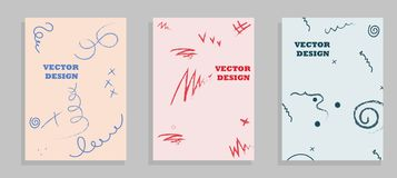 Set of Brochure Flyer design vector template Geometric Lines and Lights abstract backgrounds royalty free illustration