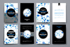 Set of brochure, poster design templates in DNA molecule style Stock Photography