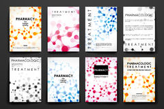 Set of brochure, poster design templates in DNA molecule style royalty free illustration