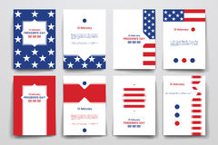 Set of brochure, poster design templates in Presidents Day style vector illustration