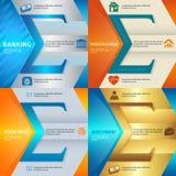 Set brochure template page number of steps presentations10. Set Design business presentation template. Vector illustration EPS 10 of different kinds of banking Stock Image