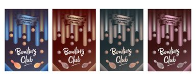 Set of brochure tournament bowling stock illustration